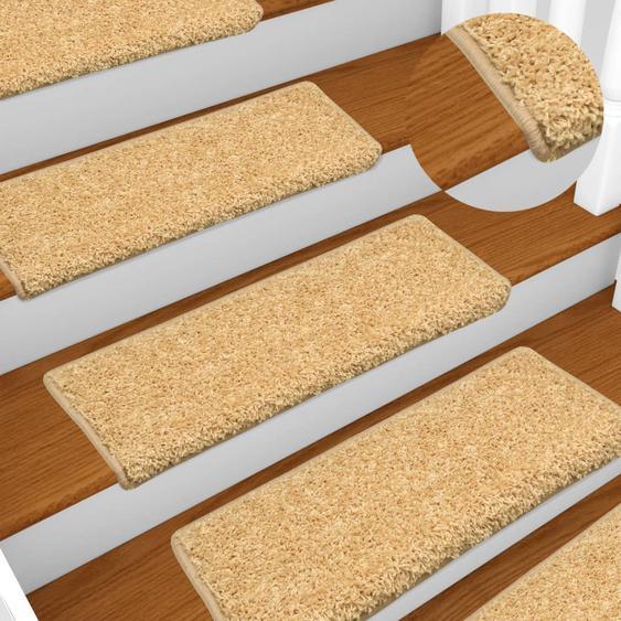 Teppich-Treppenstufen 15 Stk. 65 x 25 cm Beige