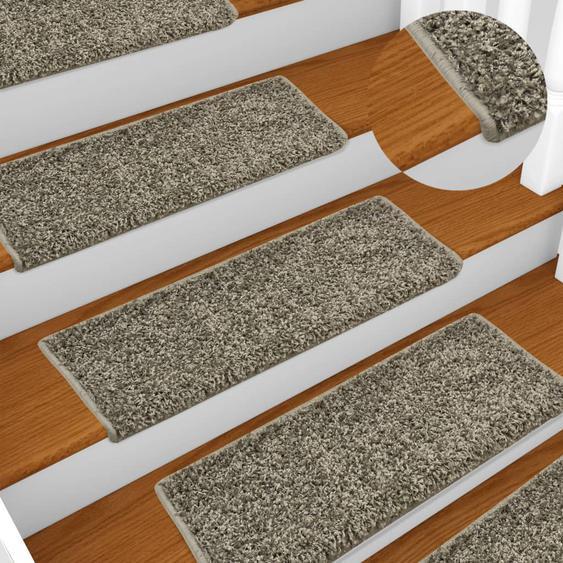 Teppich-Treppenstufen 15 Stk. 65 x 25 cm Grau