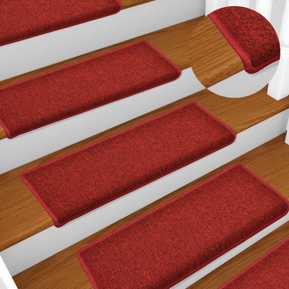 Teppich-Treppenstufen 15 Stk. 65 x 25 cm Rot