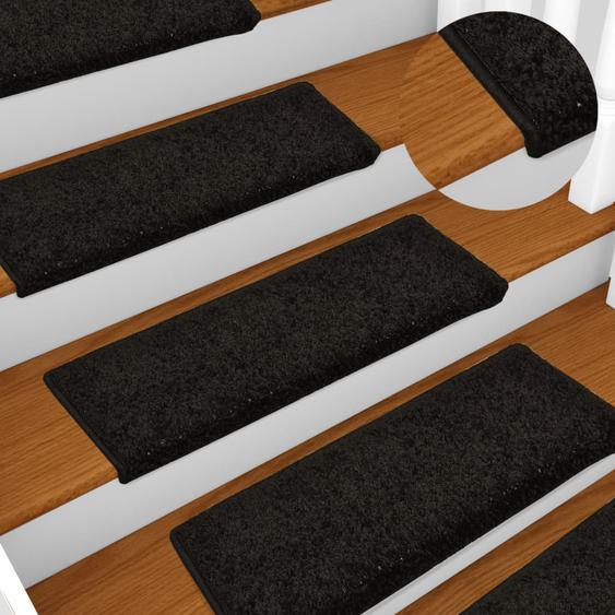 Teppich-Treppenstufen 15 Stk. 65 x 25 cm Schwarz