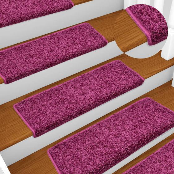 Teppich-Treppenstufen 15 Stk. 65 x 25 cm Violett