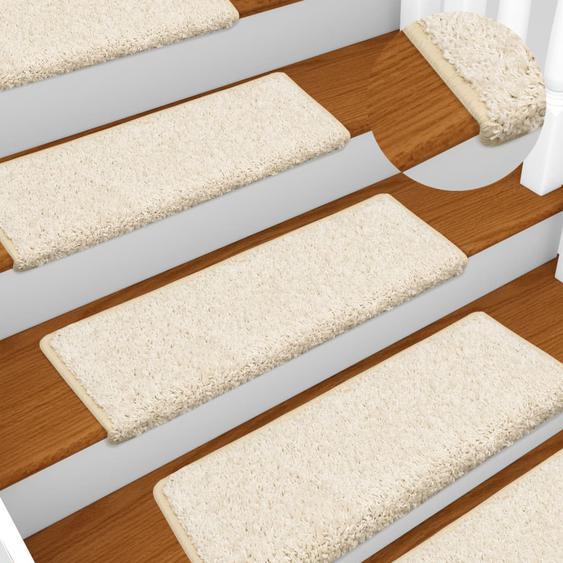Teppich-Treppenstufen 15 Stk. 65 x 25 cm Weiß