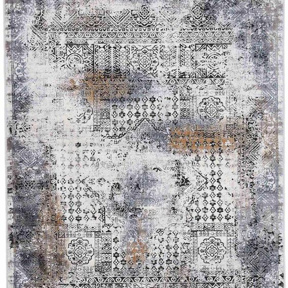 carpetfine Teppich Vintage Liyath, rechteckig, 8 mm Höhe, hoher Viskoseanteil, im Look, Wohnzimmer 200x290 cm, schwarz Kinder Bunte Kinderteppiche Teppiche
