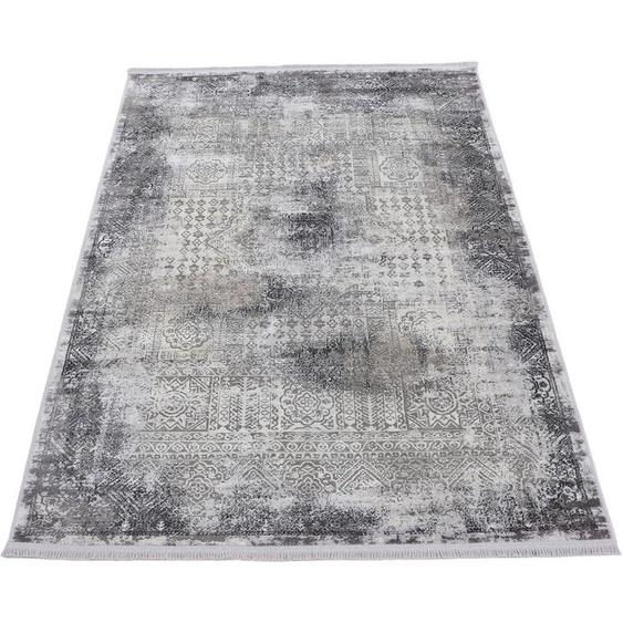 carpetfine Teppich Vintage Liyath, rechteckig, 8 mm Höhe, hoher Viskoseanteil, im Look, Wohnzimmer 200x500 cm, grau Kinder Bunte Kinderteppiche Teppiche