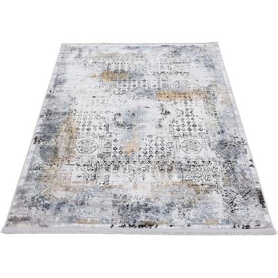 carpetfine Teppich Vintage Liyath, rechteckig, 8 mm Höhe, hoher Viskoseanteil, im Look, Wohnzimmer 200x250 cm, schwarz Kinder Bunte Kinderteppiche Teppiche