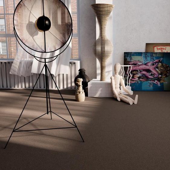 Teppichfliese Jersey, quadratisch, 3 mm Höhe, selbstliegend B/L: 50 cm x cm, 4 St. braun Teppichfliesen Bodenbeläge Bauen Renovieren