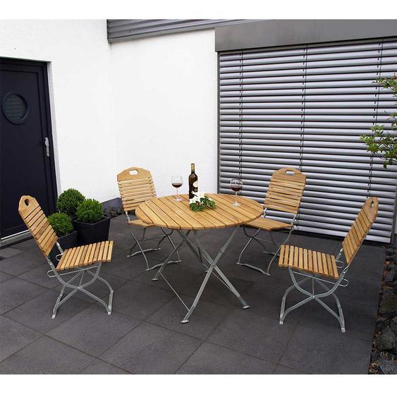 Terrassen Sitzgruppe aus Robinie Massivholz und Stahl klappbar (5-teilig)