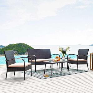 Terrassen Sitzgruppe in Braun Kunstrattan Bank (4-teilig)