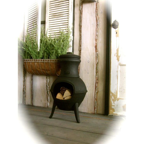 Terrassenofen aus Gusseisen, Kamin Ofen, Mexiko - Gartenkamin aus Eisen Lakos