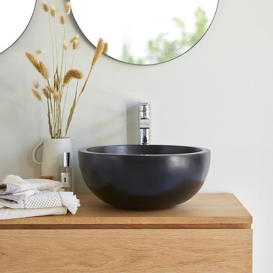 Terrazzo Waschbecken Aufsatzwaschbecken für das Badezimmer Isa schwarz