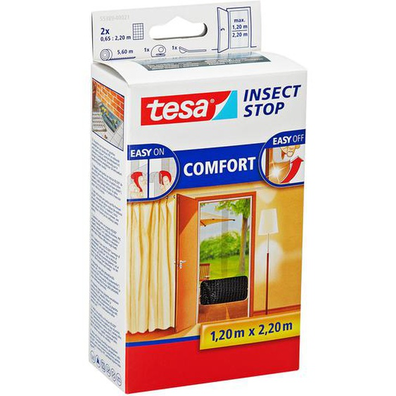 tesa Insect Stop Comfort Türfliegengitter 220 x 65 cm 2 Stück