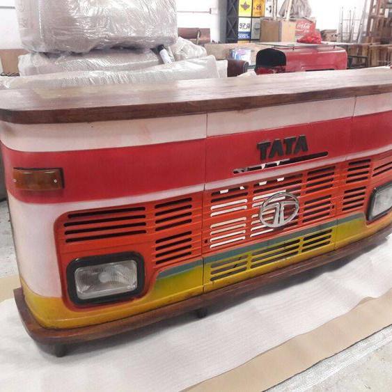 Theke LKW Bar Tresen Tata Vintage bunt Design Counter Upcycling Metall Holz R...
