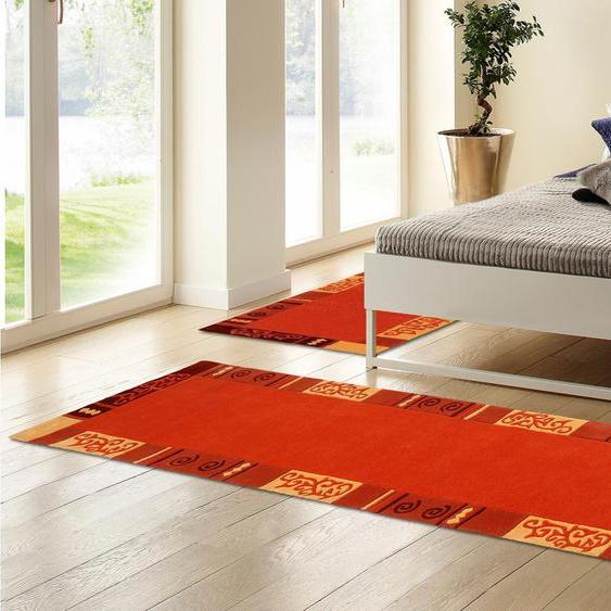 THEKO Bettumrandung Ambadi, Bettvorleger, Läufer-Set für das Schlafzimmer, reine Wolle, mit Bordüre B/L (Brücke): 70 cm x 140 (2 St.) (Läufer): 340 (1 St.), U-förmig orange Bettumrandungen Läufer Teppiche