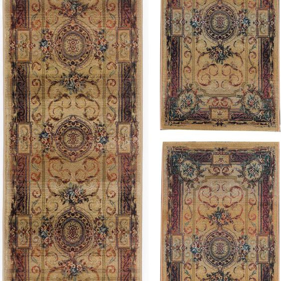 THEKO Bettumrandung Gabiro 856, Bettvorleger, Läufer-Set für das Schlafzimmer, gewebt, Orient-Optik B/L (Brücke): 68 cm x 135 (2 St.) (Läufer): 300 (1 St.), rechteckig beige Bettumrandungen Läufer Teppiche