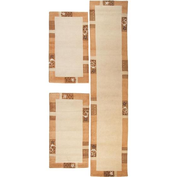 THEKO Bettumrandung Royal Ganges, Bettvorleger, Läufer-Set für das Schlafzimmer, mit Bordüre B/L (Brücke): 70 cm x 140 (2 St.) (Läufer): 340 (1 St.), rechteckig beige Bettumrandungen Läufer Teppiche