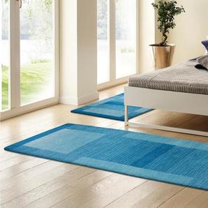 Theko Exklusiv Bettumrandung »Gabbeh Super«, 2x rücke 140x70 cm & 1x Läufer 320x70 cm, aufwendige Handarbeit, 9 mm Gesamthöhe, blau