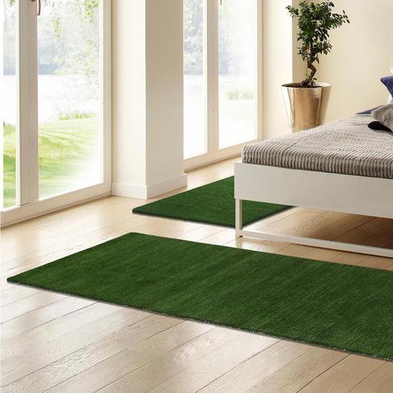 Theko Exklusiv Bettumrandung Gabbeh uni B/L (Brücke): 70 cm x 140 (2 St.) (Läufer): 320 (1 St.), rechteckig grün Bettumrandungen Läufer Teppiche