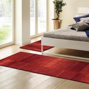 Theko Exklusiv Bettumrandung »Jorun«, 14 (2x Brücke 140x70 cm & 1x Läufer 320x70 cm), 14 mm Gesamthöhe, rot