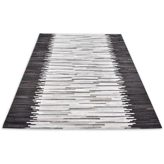 THEKO Fellteppich Kobe-Streifen, rechteckig, 3 mm Höhe, Patchwork, handgenäht, echtes Rinderfell in Naturtönen, Wohnzimmer B/L: 120 cm x 180 cm, 1 St. silberfarben Wohnzimmerteppiche Teppiche nach Räumen