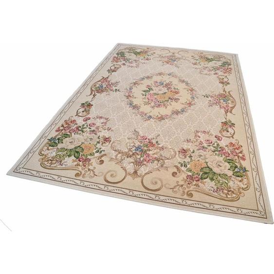 THEKO Teppich Flomi Floral, rechteckig, 3 mm Höhe, Flachgewebe, Wohnzimmer B/L: 240 cm x 340 cm, 1 St. beige Schlafzimmerteppiche Teppiche nach Räumen