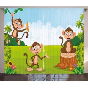 2-tlg. Thermo-Vorhang-Set Kindergarten mit Kräuselband und Schlaufen, blickdicht