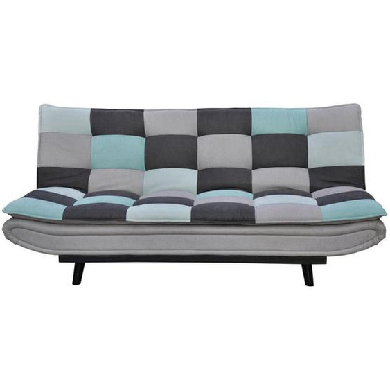 Ti`me Schlafsofa Mikrofaser Grau, Blau, Grau , Metall, Textil , Karo , 3-Sitzer , 194x90x100 cm