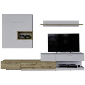 Ti`me: Wohnwand, Holzwerkstoff, Weiß, Eiche, B/H/T 280 185 47