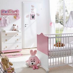 Ticaa Babymöbel-Set Prinz/Prinzessin, (Set, 3 St.), Bett + Wickelkommode Wandregal Einheitsgröße rosa Baby Baby-Möbel-Sets Babymöbel