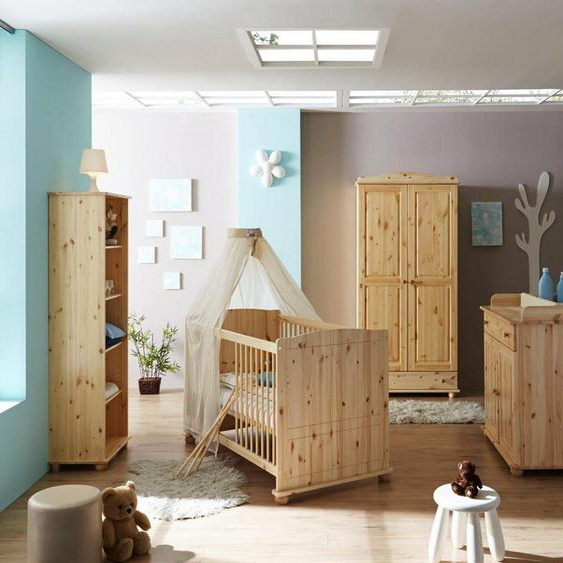 Ticaa Babyzimmer-Komplettset »Adam«, (Set, 5-St), Bett + Wickelkommode + Schrank + Unterstellregal + Standregal