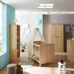 Ticaa Babyzimmer-Komplettset »Moritz«, (Set, 5-tlg), Bett + Wickelkommode + Schrank + Unterstellregal + Standregal