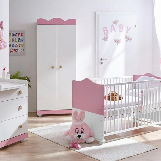 Ticaa Babyzimmer-Komplettset »Prinz/Prinzessin«, (Set, 5-St), Bett + Wickelkommode + Schrank + Wandregal + Anstellschrank