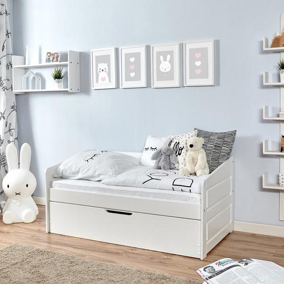 Ticaa Daybett Micki mini, mit Zusatzbett 80x160 cm weiß Kinder Kinderbetten Kindermöbel Daybetten