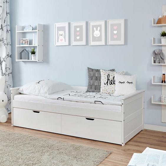 Ticaa Daybett Theodor, mit 2 Schubkästen Liegefläche B/L: 90 cm x 200 cm, Gewicht, ohne Matratze weiß Kinder Kinderbetten Kindermöbel