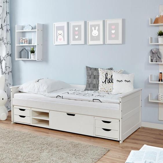 Ticaa Daybett Theodor, mit 4 Schubkästen 100x200 cm weiß Kinder Kinderbetten Kindermöbel Daybetten