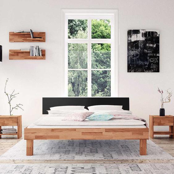 Tiefes Bett aus Buche geölt schwarzem Kopfteil