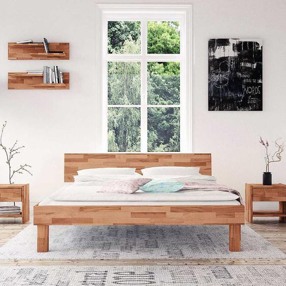 Tiefes Bett aus Buche Massivholz Mittelsteg