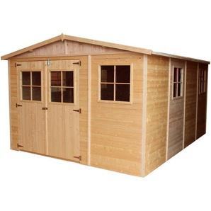 Timbela - Holz Gartenschuppen - Abstellkammer mit Fenstern - H226x418x320 cm/12 m² Naturholz-Shiplap-Schuppen - Gartenwerkstatt - Fahrrad- Geräteschuppen M336