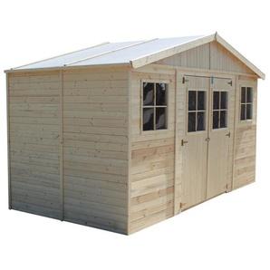 Timbela - Holz Gartenschuppen - Abstellkammer mit Fenstern - H246 x 418 x 220 cm/ 8 m² Naturholz-Shiplap-Schuppen - Gartenwerkstatt - Fahrrad- Geräteschuppen M332