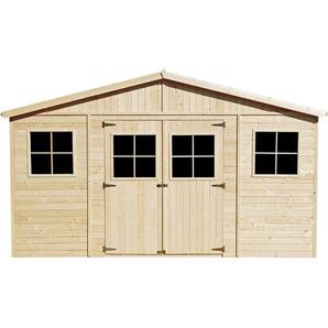 Timbela - Holz Gartenschuppen - Abstellkammer mit Fenstern - H246 x 418 x 420 cm/ 16 m² Naturholz-Shiplap-Schuppen - Gartenwerkstatt - Fahrrad- Geräteschuppen M330