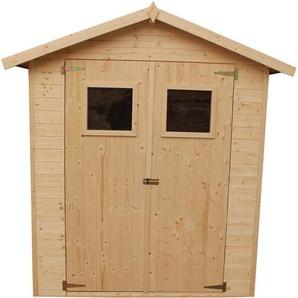Timbela - Holz Gartenschuppen -Abstellraum mit Boden- H216 x 206 x 200 cm/2.99 m² Naturholz-Shiplap-Schuppen - Gartenwerkstatt - Fahrrad- Geräteschuppen M300A