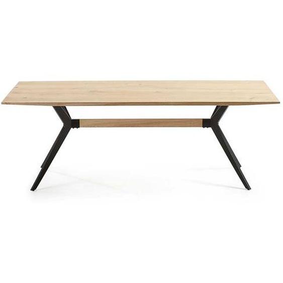 Tisch aus Eiche White Wash massiv 4-Fußgestell aus Stahl