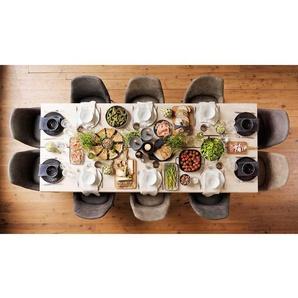 Tisch mit 10 St�hlen aus Eiche Massivholz Dunkelgrau und Braun Microfaser (11-teilig)