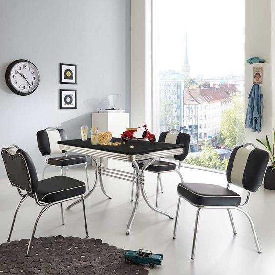 Tisch mit 4 Stühlen in Schwarz Weiß gestreift Retro Design (5-teilig)