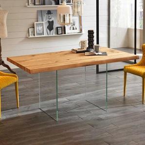 Tisch mit Glaswangen Eicheplatte