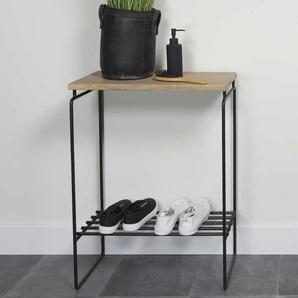 Tischchen aus Eiche Massivholz und Stahl Schuhablage
