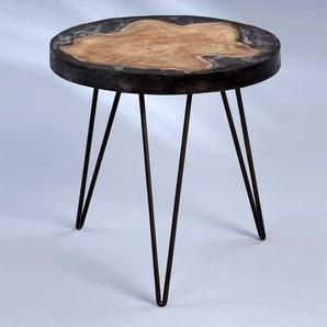 Tischchen aus Teak Massivholz und Leichtbeton Rund