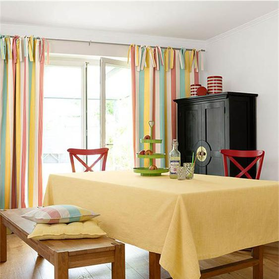 Tischdecke blassgelb - bunt - 100 % Baumwolle - Tischwäsche