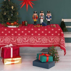 Tischdecke Sterne - Rot/Weiß - 100% Baumwolle - Tischwäsche