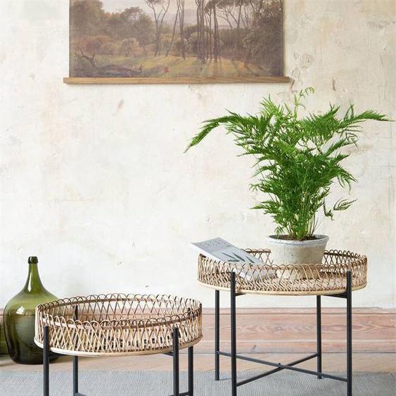 Tische-Set Bambus - bunt - Metall, Bambus, faltbar - Tischwäsche