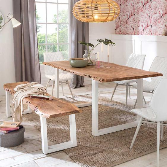 Tischgruppe aus Akazie Massivholz und Weiß Metall Bank (2-teilig)